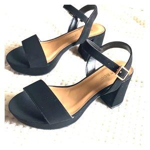Bamboo black suede mini block heel sandal
